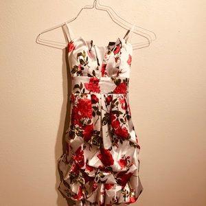 White Mini Halter Dress with Floral Print